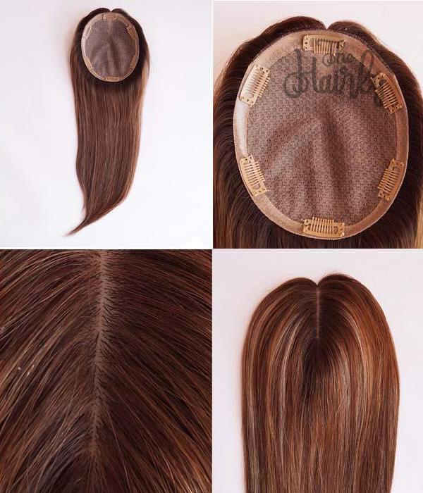 Luna tupet damski naturalny brąz z pasemkami 26-46cm - zagęszczenie włosów clip in