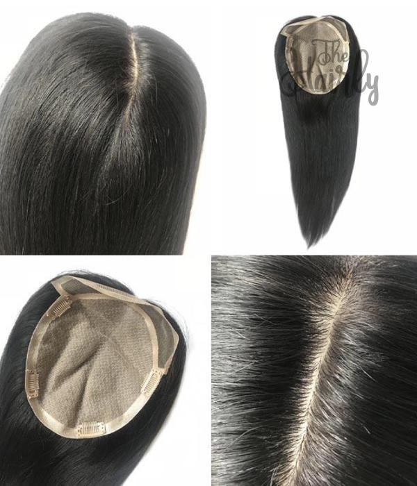 Karina tupet naturalny / topper czarny 26-56cm - zagęszczenie włosów clip in