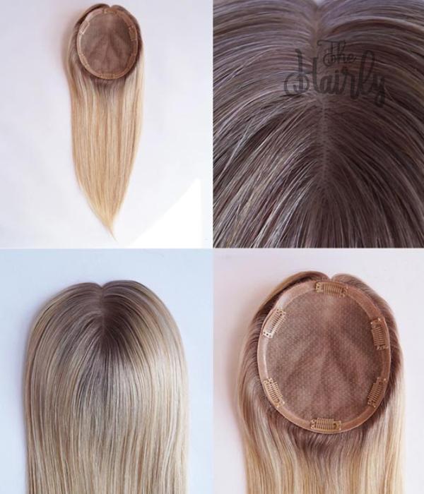 Luna Tupet naturalny blond z odrostem 31-46cm- zagęszczenie włosów clip in