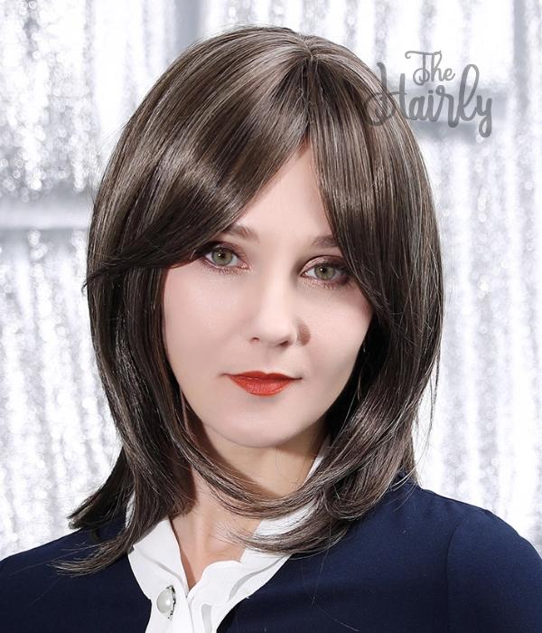 Peruka 50% włos naturalny, 50% włos syntetyczny, głęboki chłodny brąz