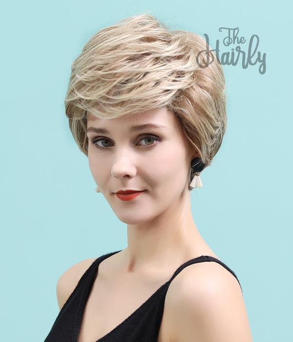 Peruka 50% włos naturalny, 50% włos syntetyczny, ciepły blond balayage z odrostem