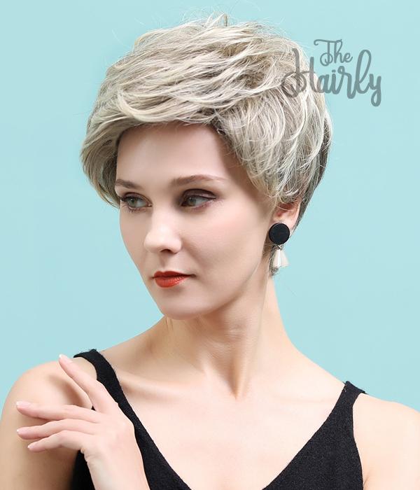 Peruka 50% włos naturalny, 50% włos syntetyczny, zimny blond z odrostem