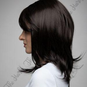 Peruka 50% włos naturalny, 50% włos syntetyczny, głęboki cieniowany brąz