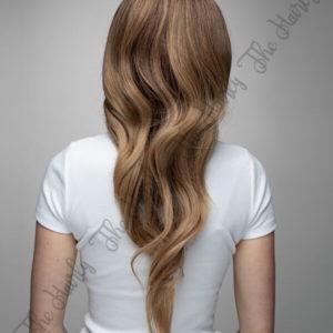 Peruka syntetyczna Ciemny Blond Ombre Grzywka Falowane