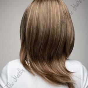 Peruka 50% włos naturalny, 50% włos syntetyczny, ciemny blond z pasemkami