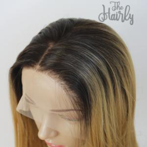 Peruka syntetyczna Front Lace Blond z Odrostem Proste
