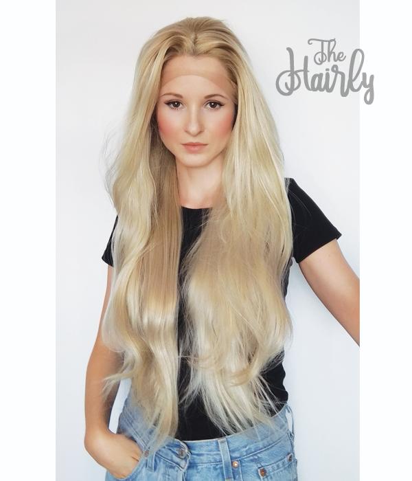 Peruka syntetyczna Front Lace Popielaty blond proste