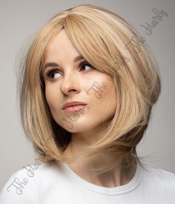 z syntetycznych włosów peruka blond krótki bobik
