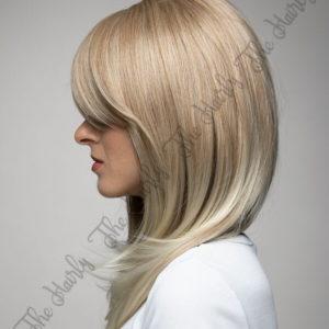 Peruka syntetyczna ciepły blond z pasemkami cieniowane grzywka