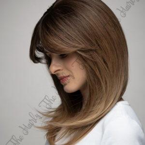 Peruka syntetyczna Ciemny blond z odrostem cieniowana grzywka