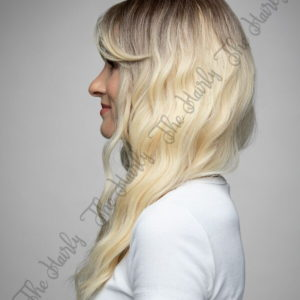 Peruka syntetyczna zimny blond z odrostem wet look nowa kolekcja