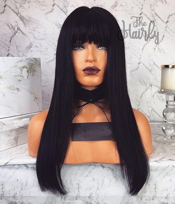 peruka naturalna front lace czarna