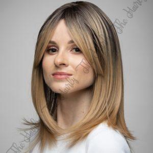 Peruka syntetyczna Ciepły blond z pasemkami i naturalnym odrostem