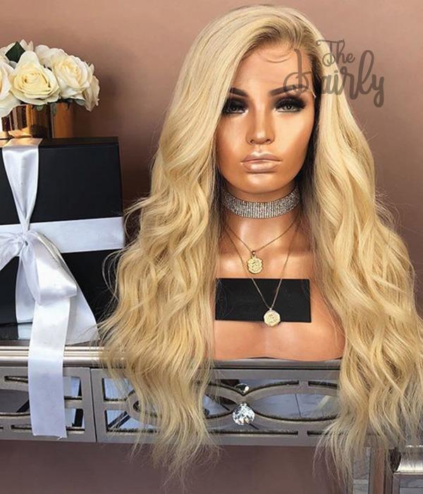 peruka naturalna front lace popielaty blond