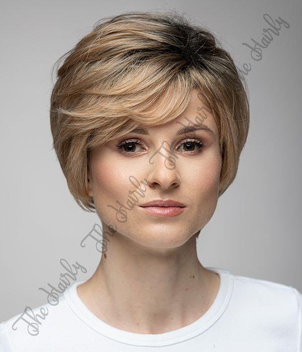 blond krótka peruka mieszana z odrostem