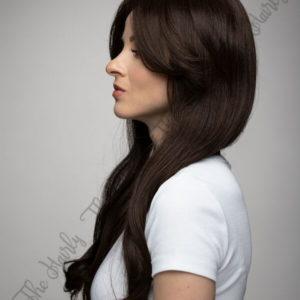 Peruka 50% włos naturalny, 50% włos syntetyczny, głęboki brąz cieniowana grzywka