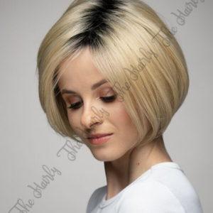 Peruka 50% włos naturalny, 50% włos syntetyczny, krótki blond bob z odrostem