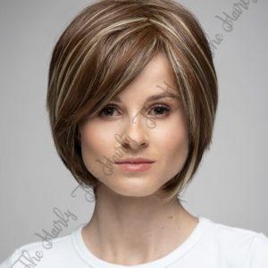 perułka z mieszanych włosów krótki brąz bob z pasemkami