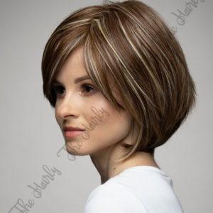 Peruka 50% włos naturalny, 50% włos syntetyczny, krótki brąz bob z pasemkami