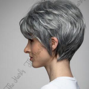 Peruka 50% włos naturalny, 50% włos syntetyczny, naturalny siwy