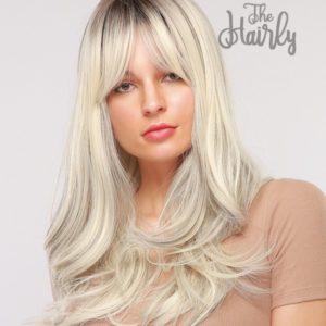 Peruka syntetyczna popielaty blond z pasemkami i grzywką