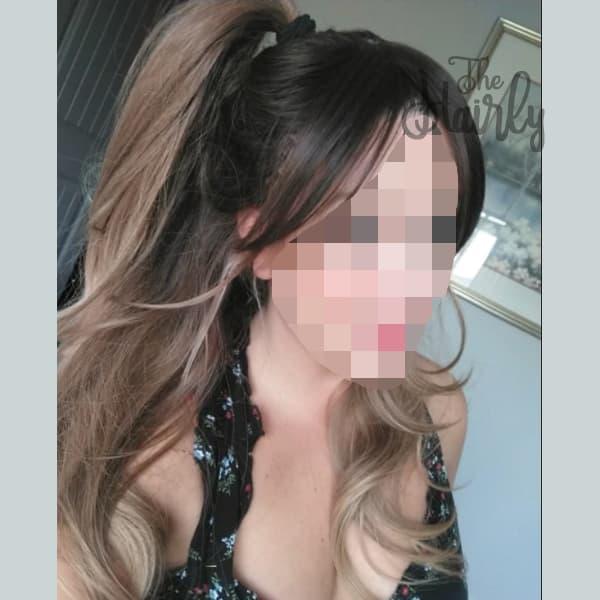 Peruka syntetyczna ciemny blond ombre długa