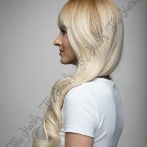 peruka sntetyczna platynowy blond z naturalnym odrostem
