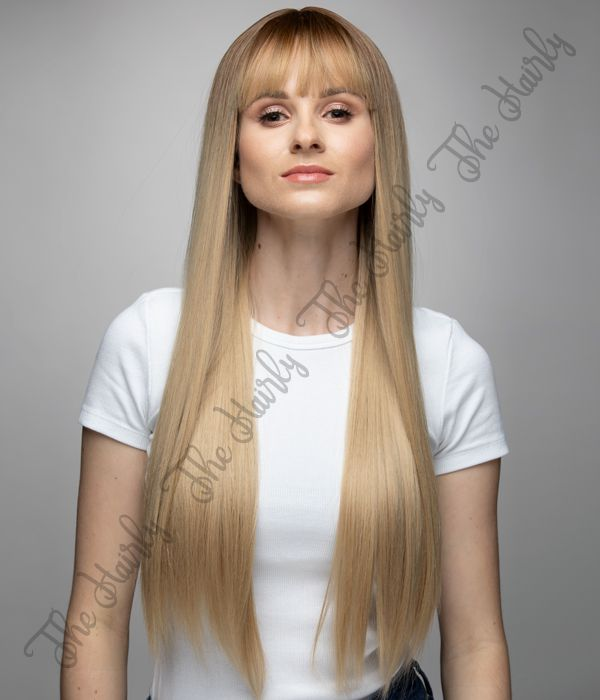 peruka syntetyczna cieply blond z odrostem