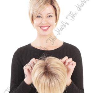Tupet syntetyczny mono top front lace vaniliowy blond z odrostem 15cm - ręcznie szyty