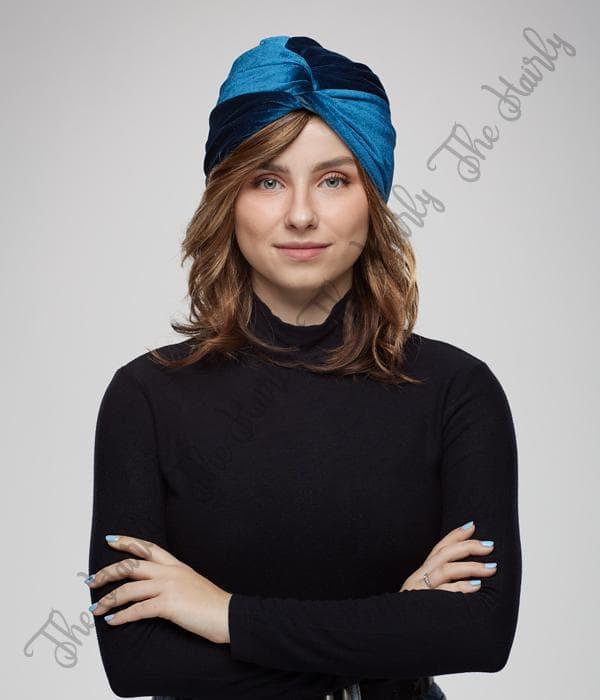 welurowy niebieski turban