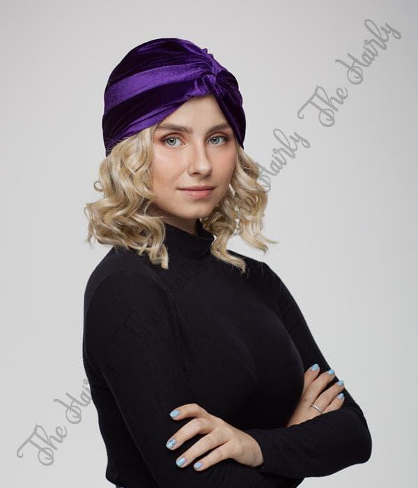 welurowy turban fioletowy
