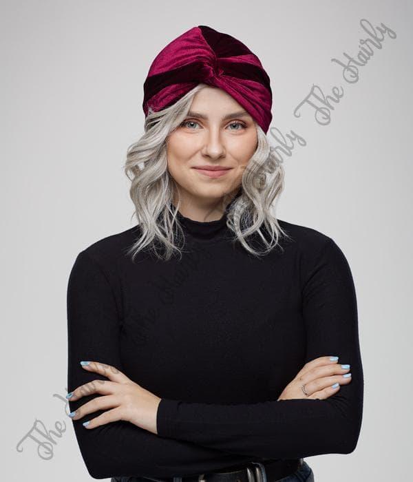 turban welurowy bordo